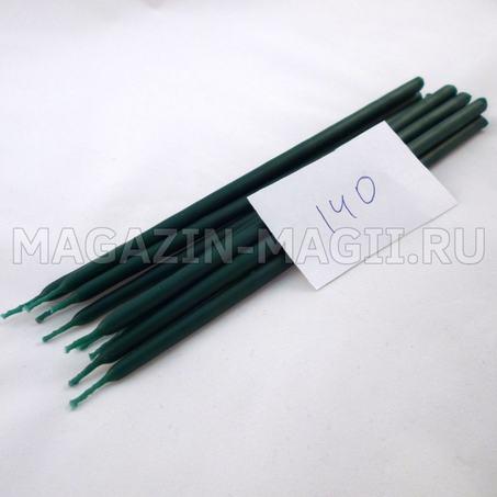 Свечи восковые изумрудно-зеленые №140 маканые